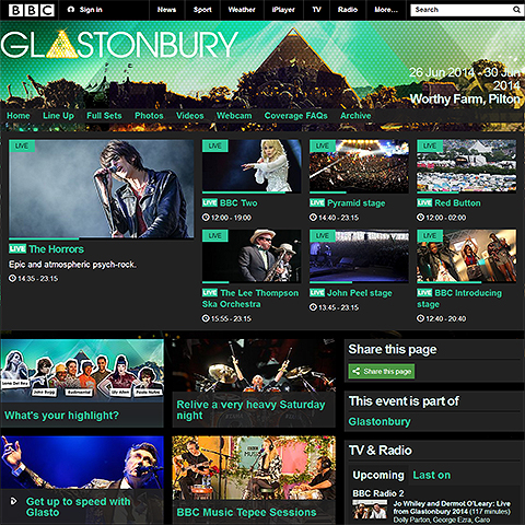 BBC Glastonbury 2014 online coverage is rich in detail but somewhat labyrinthine